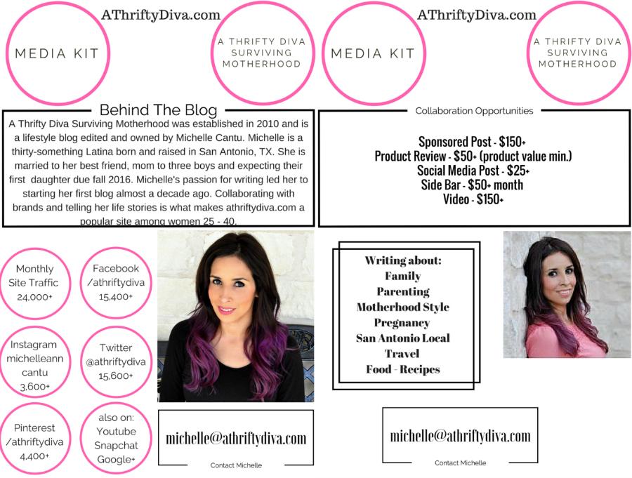 San Antonio Latina Lifestyle Blogger Media Kit A Thrifty Diva Surviving Motherhood