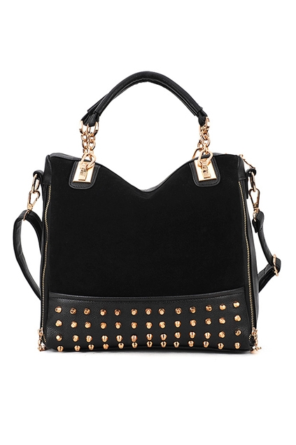 Rivets-Embellished-Suede-Front-Shoulder-Bag