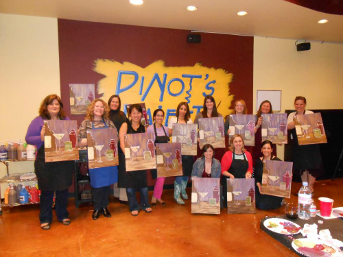 Painting in San Antonio pinots palette