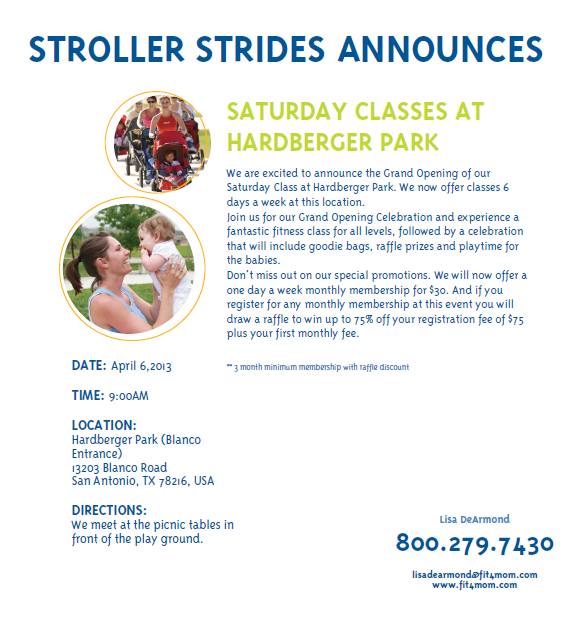 stroller strides san antonio saturday class at Hardberger Park