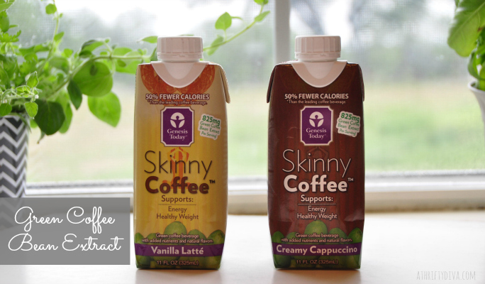Skinny Coffee Genesis Today Green Coffee Bean Extract Vanilla Latte and Creamy cappuccino 11 ounce  tetra packs