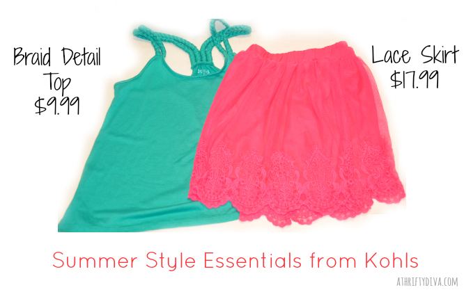 Kohl's Spring to Summer  Wardrobe Essentials lace skirt and braid detail top