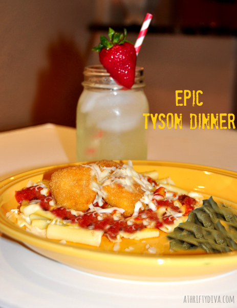 EPIC the Movie Tyson Chicken Nuggets Parmesan and Del Monte Green Beans meal