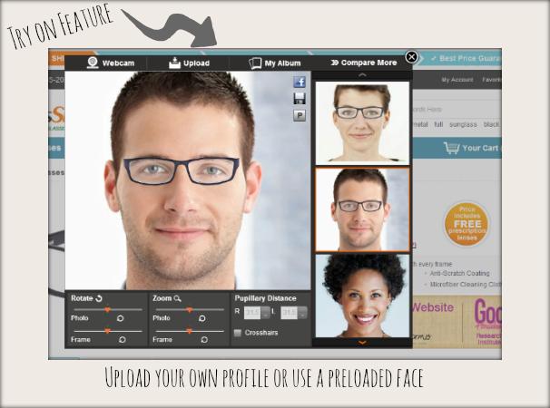 online eyeglasses GlassesShop.com try on feature