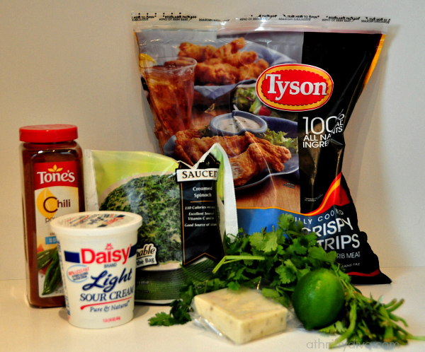 ingredients for Tyson Crispy Chicken Strips and Zesty Spinach Chili Cheese Dip Recipe  #shop #SamsDemos #cbias