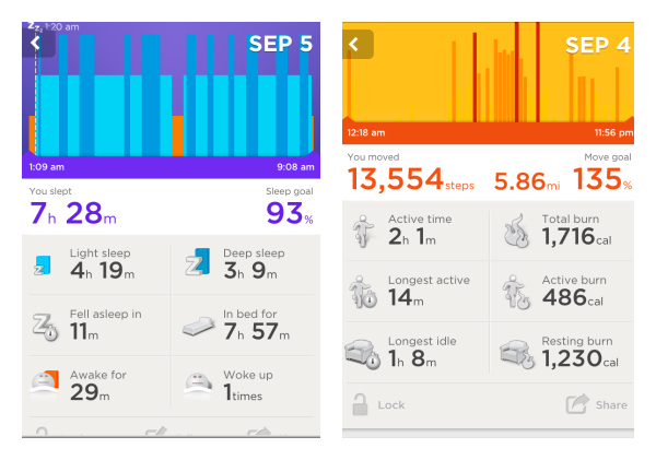 the Best Buy Jawbone Up activity