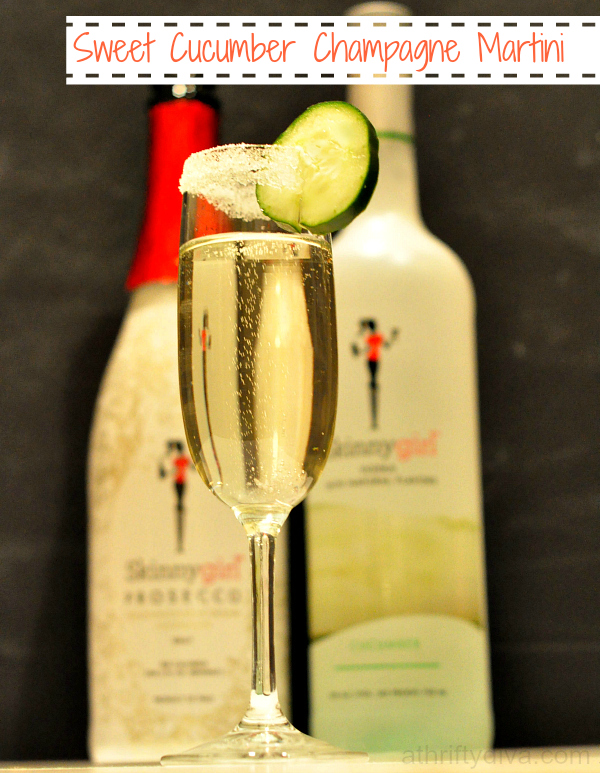 sweet cucumber champagne martini recipe made with Skinnygirl products