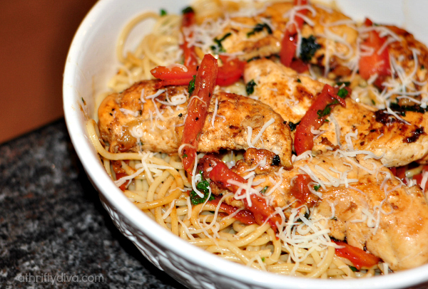 Garlic Butter Spaghetti & Chicken Recipe