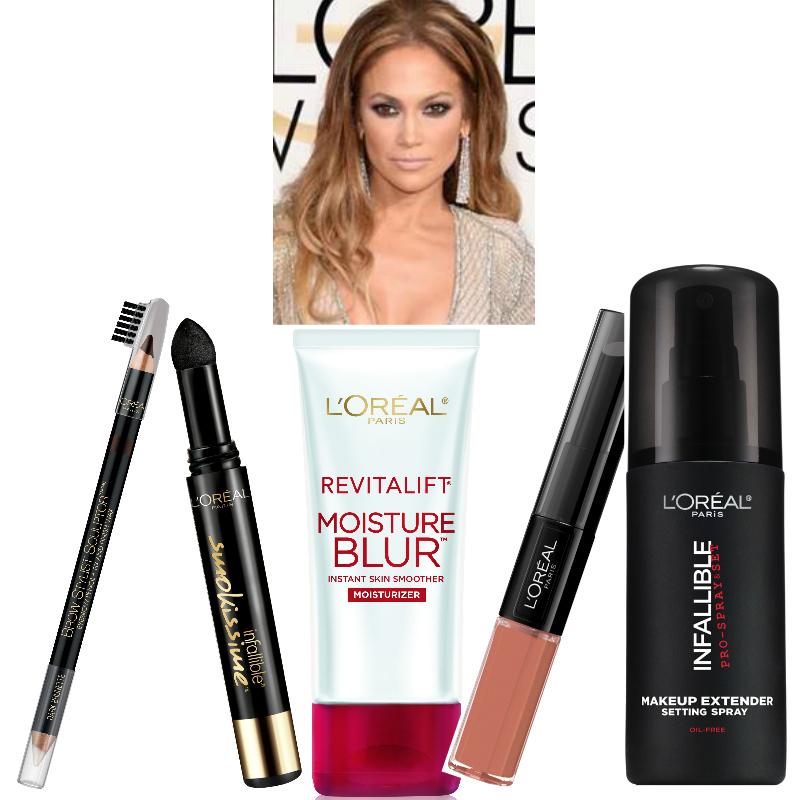 Jennifer Lopez Golden GLobes makeup Loreal