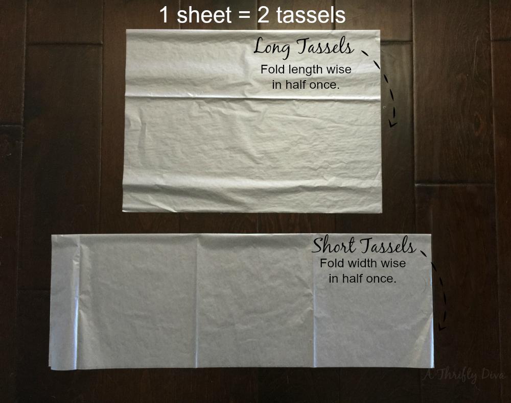 fold tissue paper to diy tassel garland