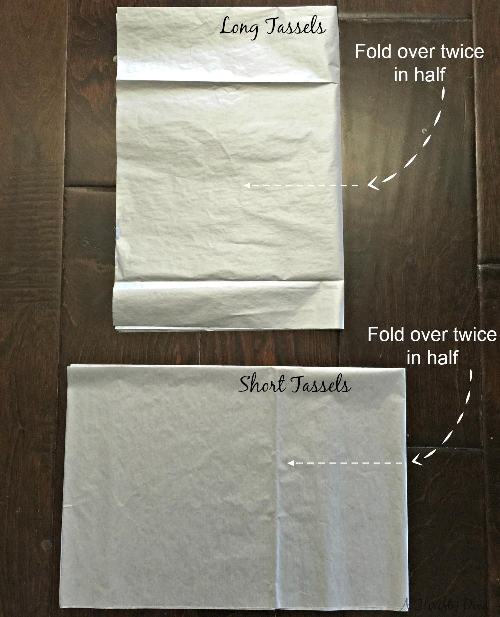 fold tissue paper to make tassel garland