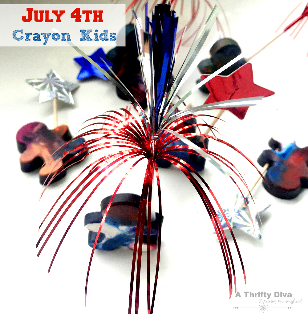 july 4th crayon kids craft with mold