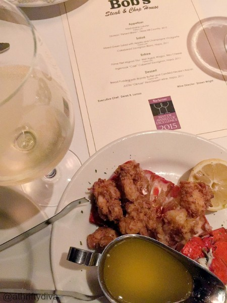 fried maine lobster and texas hill country wine at bob steak and chop house