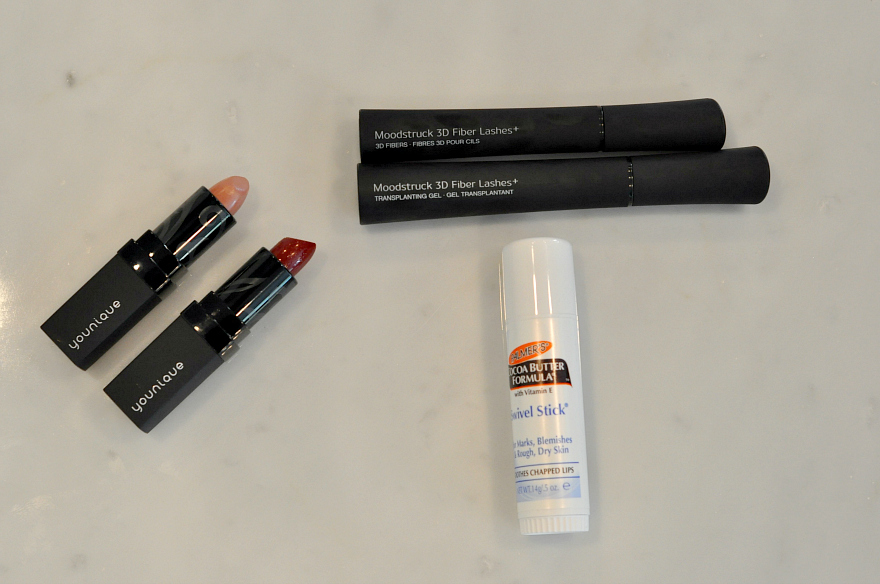 Palmers Cocoa Butter swivel stick, younique moodstruck lipstick and 3d fiber lashes+ holiday beauty must-haves
