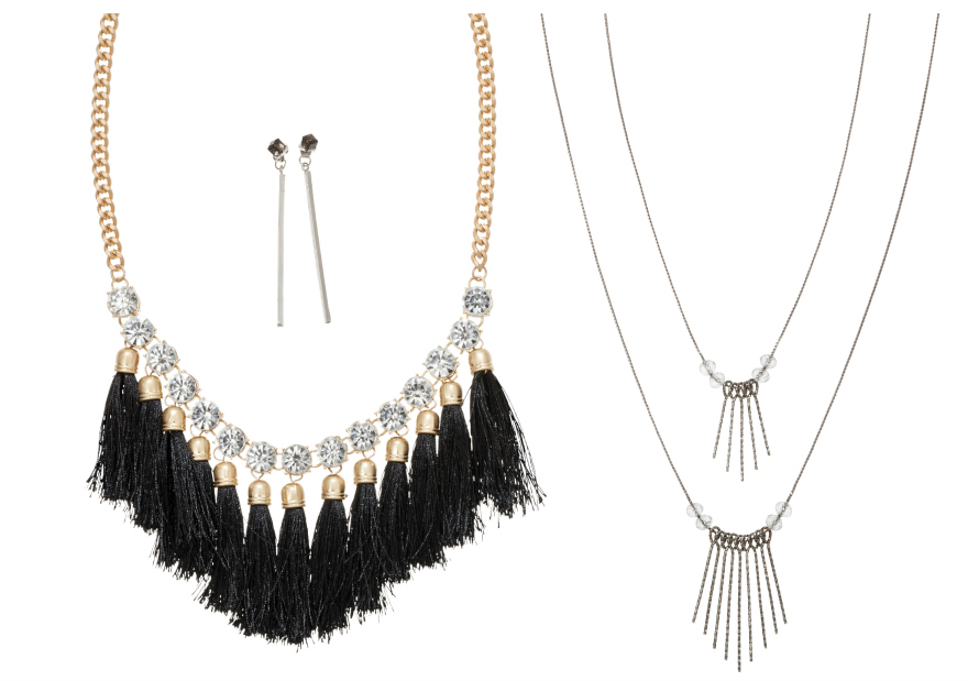 Women's Short Necklace with Stones and Tassels - GoldBlack (18)