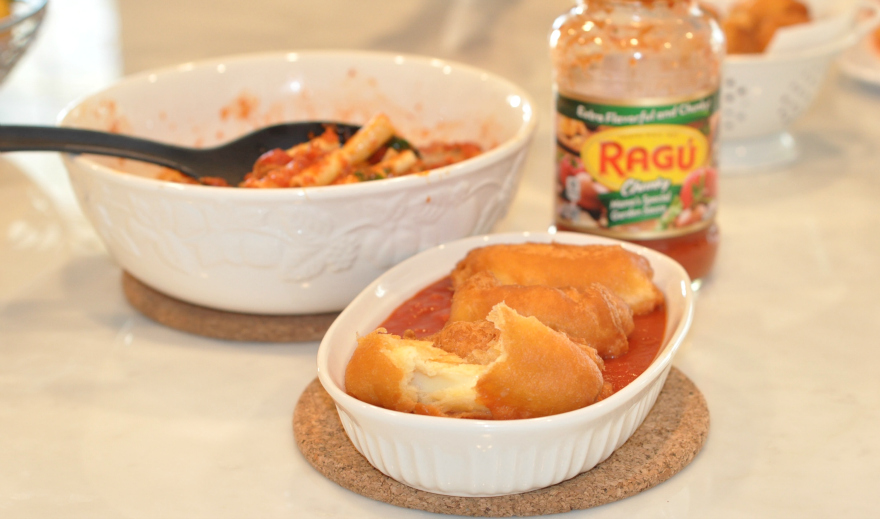 Baked Ziti and Fried Cheese Recipe Ragu Pasta Sauce Recipes #simmeredintradition #ragu