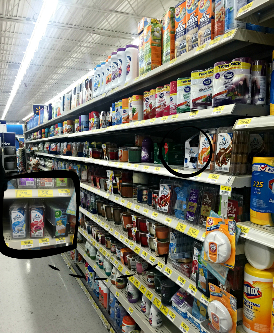 shopping in walmart for Glade® Clean Linen® Wax Melts