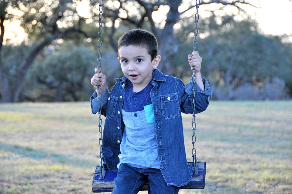 OshKosh style on the swing