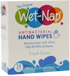 WET-NAP ANTIBACTERIAL HAND WIPES, PACKETS FRESH for kids carry on