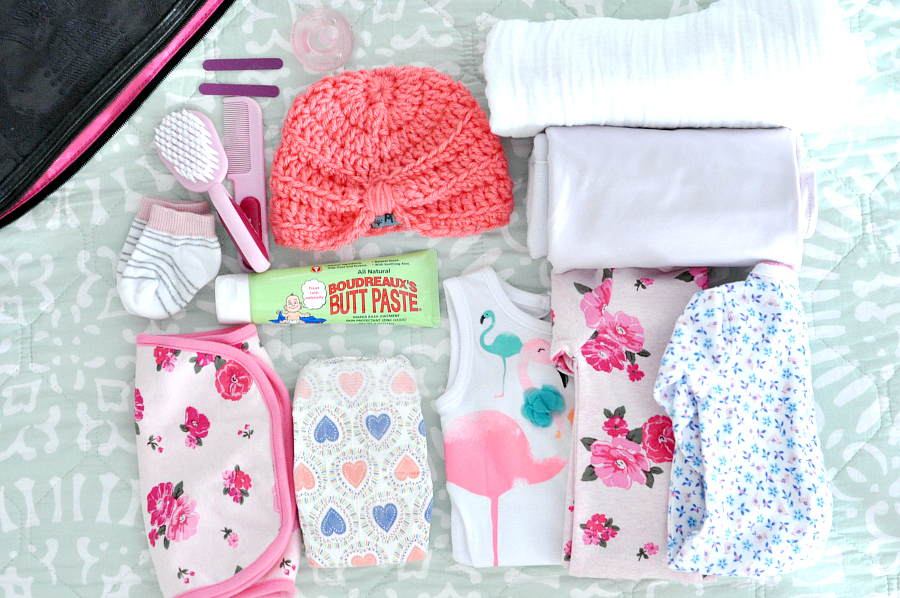 Essentials Packing for baby bag with boudreauxs butt paste #buttpaste #ad