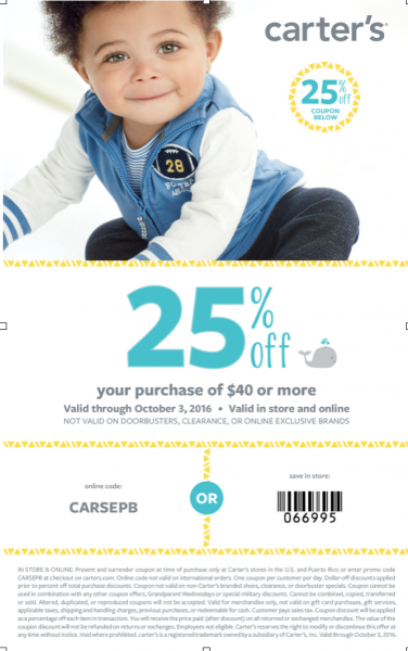 essential baby clothing checklist Carter's coupon 25% off