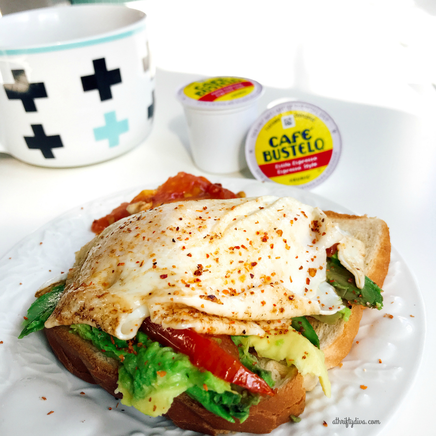 fried egg avocado toast and cafe bustelo