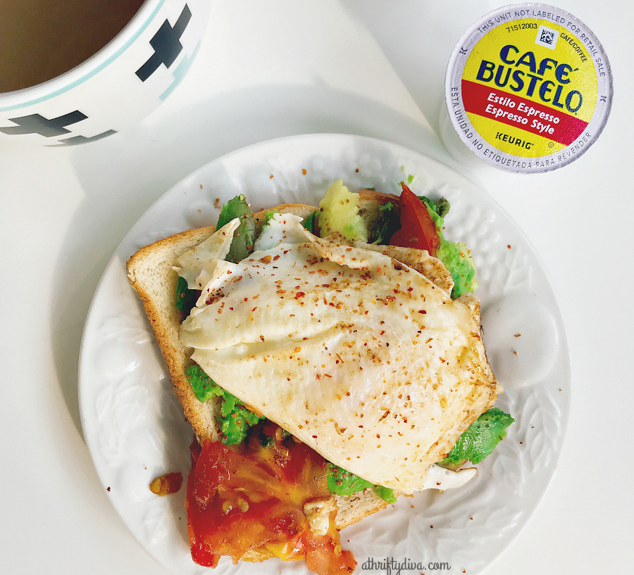 fried egg toast and cafe bustelo for breakfast