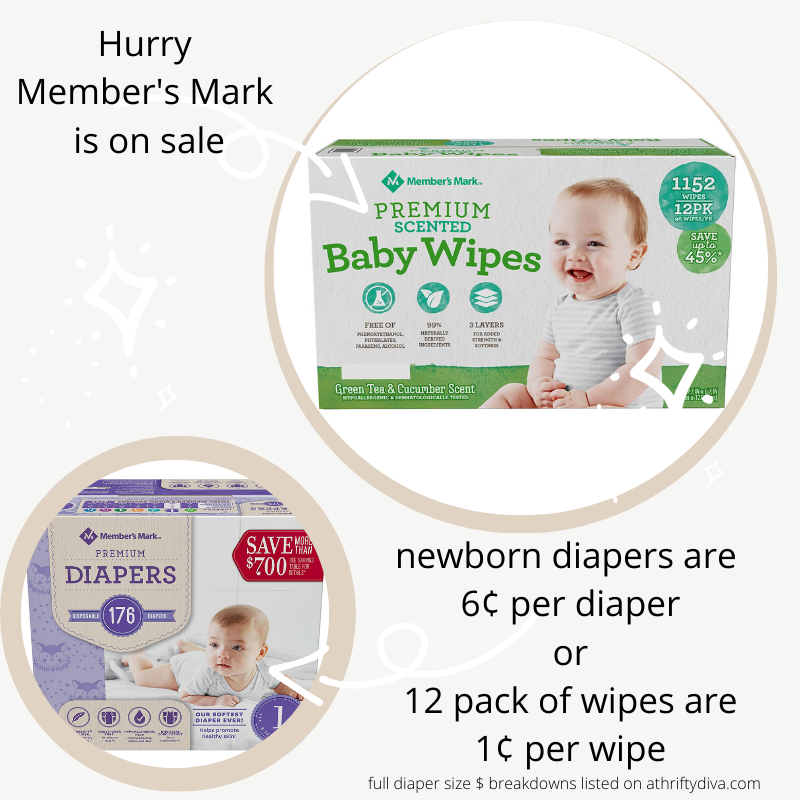 How to get Member's Mark Diapers As Low As 6¢ or Wipes for 1¢ (1)